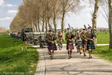 Commemoration Operation Cannonshot 2019 - Commemoration Operation Cannonshot 2019: The members of the Highland Regiment Pipes and Drums marching towards the village of Wilp,...