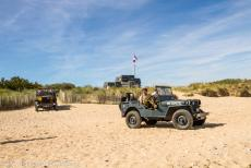 75th anniversary of D-Day - Classic Car Road Trip Normandy, 75 years after D-Day: A Willys MB Jeep and Ford GPW Jeep on Juno Beach. Juno Beach stretches on either side...