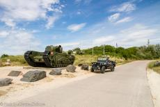 75th anniversary of D-Day - Classic Car Road Trip Normandy, 75 years after D-Day: A Churchill AVRE on Juno Beach at Graye-sur-Mer remains as a memorial to...
