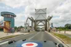 75th anniversary of D-Day - Classic Car Road Trip Normandy, 75 years after D-Day: The Ford GPW Jeep crossing the new Pegasus Bridge in Ranville. After landing by glider in...