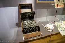 75th anniversary of D-Day - Classic Car Road Trip Normandy, 75 years after D-Day: Memorial de Caen Museum, the Enigma coding machine was invented by the German...