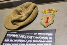 75th anniversary of D-Day - Classic Car Road Trip Normandy, 75 years after D-Day: Memorial de Caen Museum, the woolen commando jeep cap of the war photographer Robert Capa....