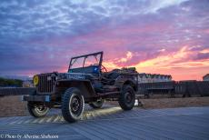 75th anniversary of D-Day - Classic Car Road Trip Normandy, the 75th anniversary of D-Day: A Willys MB Jeep on Sword Beach during the Liberation Concert...