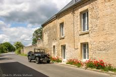 75th anniversary of D-Day - Classic Car Road Trip through Normandy during the celebrations of the 75th anniversary of D-Day: Our Ford GPW jeep in front of a row of...