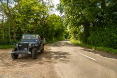75th anniversary of D-Day - Classic Car Road Trip Normandy, 75 years after D-Day: A Ford GPW jeep driving along one of the holloways, or sunken lanes in Normandy. During the...