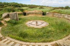 75th anniversary of D-Day - Classic Car Road Trip Normandy, 75 years after D-Day: The remains of an open concrete gun pit at Pointe du Hoc. The German battery at Pointe...