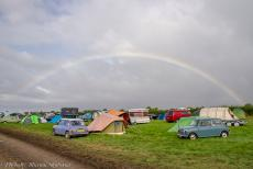 IMM 2019 Bristol - Classic Car Road Trip, IMM 2019 Bristol: After a severe storm and heavy rainfall, a magnificent rainbow appeared over the campgrounds at...