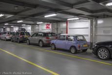 IMM 2019 Bristol - Classic Car Road Trip: A New Mini and our own 1974 Mini Authi aboard the ferry. After visiting England and the town of Bristol...