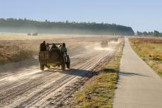 75 years after the Battle of Arnhem - Classic Car Road Trip: A convoy of WWII Jeeps driving on the dusty sand roads of Ginkel Heath close to the Dutch city of Ede...