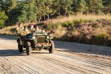 75 years after the Battle of Arnhem - Classic Car Road Trip: A Willys Jeep Slat Grill driving on Ginkel Heath during the 75th anniversary of the Battle of Arnhem in 2019. A...