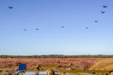 75 years after the Battle of Arnhem - Classic Car Road Trip: Low flying military aircrafts over Ginkel Heath during the 75th anniversary commemorations of the Battle of Arnhem,...