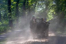 75 years after the Battle of Arnhem - Classic Car Road Trip: The 75th anniversary Battle of Arnhem, 1942 Willys MB Jeep drives from Ginkelse Heath towards Renkum Heath to...
