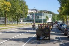 75 years after the Battle of Arnhem - Classic Car Road Trip: Race to the Bridge 2019, a 1942 Ford GPW Jeep driving via Onderlangs to the Rhine Bridge in Arnhem, the bridge is also...