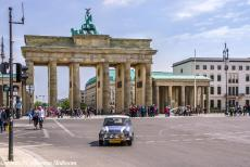 Lithuania 2015 - Classic Car Road Trip from the Netherlands to Lithuania, our Mini Authi in front of the Brandenburg Gate at Berlin, Germany. The Brandenburg...