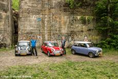 Lithuania 2015 - Classic Car Road Trip from the Netherlands to Lithuania: Three classic minis in front of one of the bunkers of the Wolf's Lair, the...