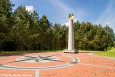 Lithuania 2015 - Classic Car Road Trip Lithuania: The Geographical Centre of Europe near the small village of Purnuškės in Lithuania. A granite...