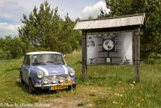 Lithuania 2015 - Classic Car Road Trip Lithuania: Our Mini Authi next to one of the station points of the Struve Geodetic Arc in Lithuania. This...