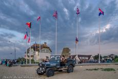 Normandy 2014 - Classic Car Road Trip Normandy: Our own Ford Jeep in front of the Canada House in Bernières-sur-Mer during the...
